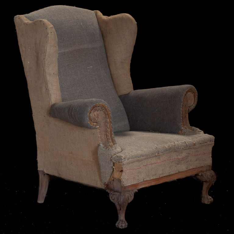 French Pair of primitive tall wingback lounge chairs