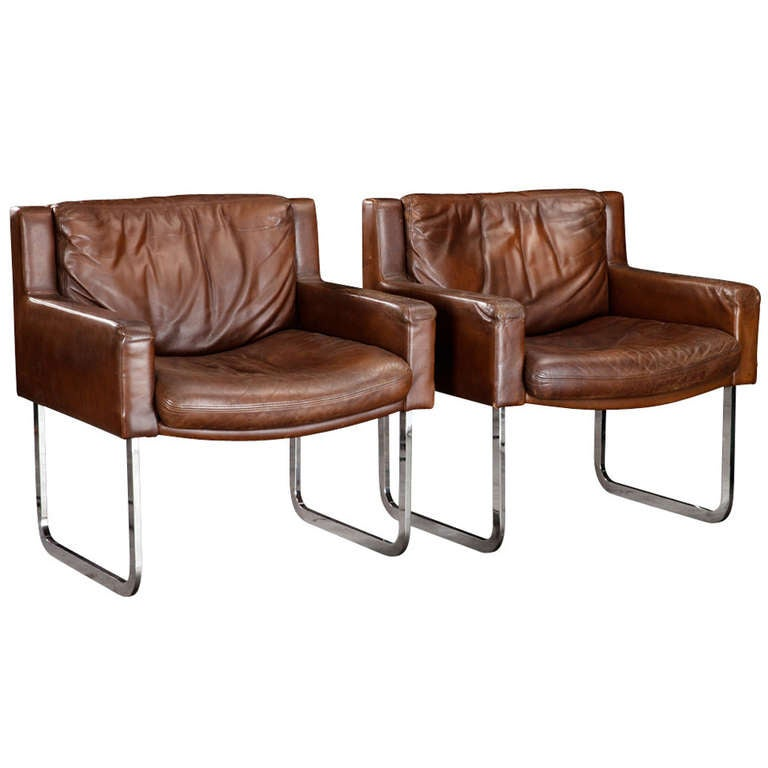 chrome base leather chairs at 1stdibs
