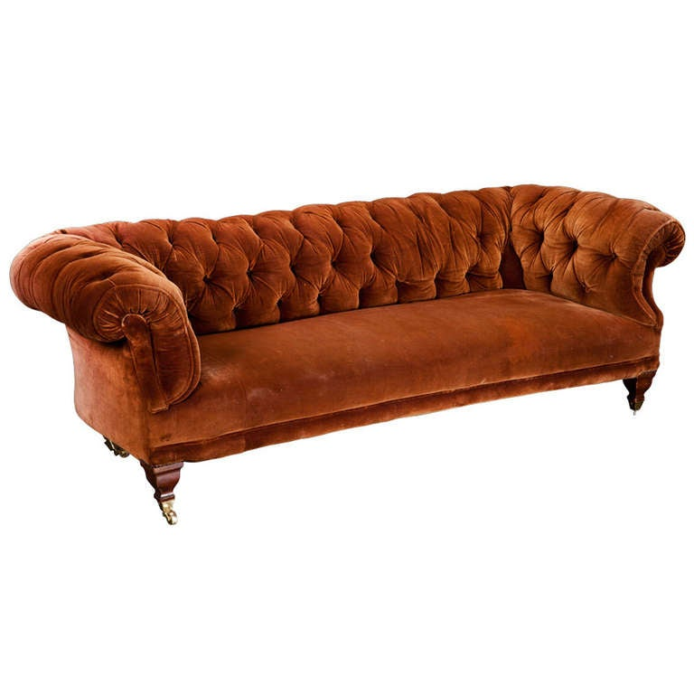 Velvet Chesterfield Sofa at 1stdibs