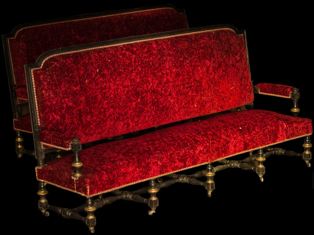 Red velvet monumental sofa at 1stdibs for Red velvet sectional sofa