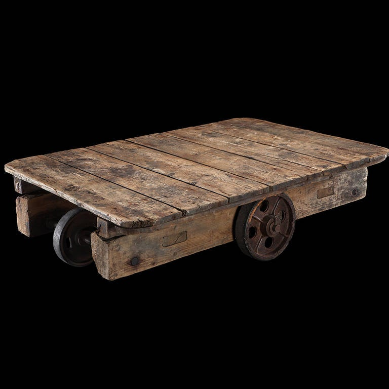 Wood plank coffee table at 1stdibs for Wood plank top coffee table