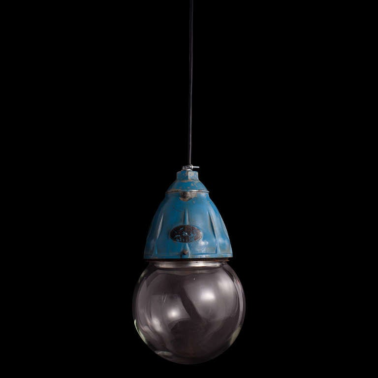 Industrial Glass Globe Pendant In Excellent Condition For Sale In Culver City, CA