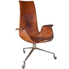 High Back Leather Tulip Chair