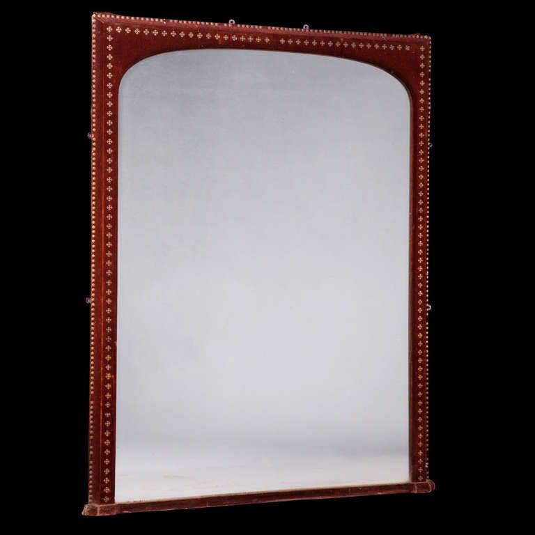 Velvet surround mantle mirror at 1stdibs for Mantel mirrors