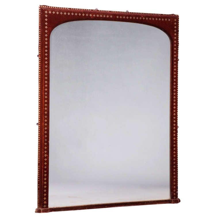 Velvet surround mantle mirror at 1stdibs for Mantle mirror