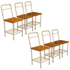 Set of (6) Wood Seat / Bent Metal Chairs