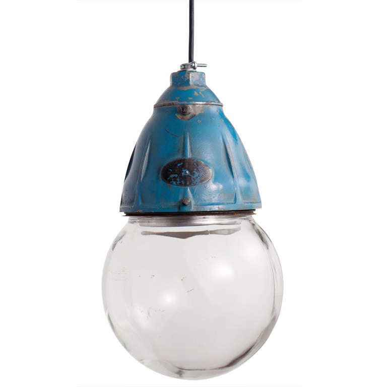 Industrial Glass Globe Pendant For Sale
