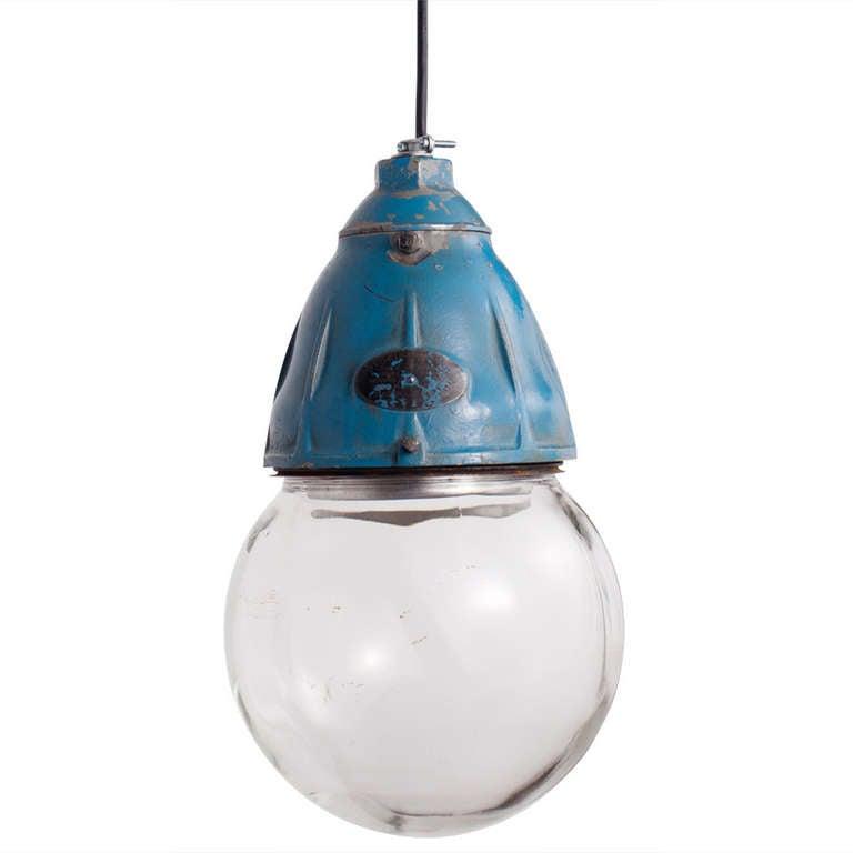 industrial glass globe pendant at 1stdibs