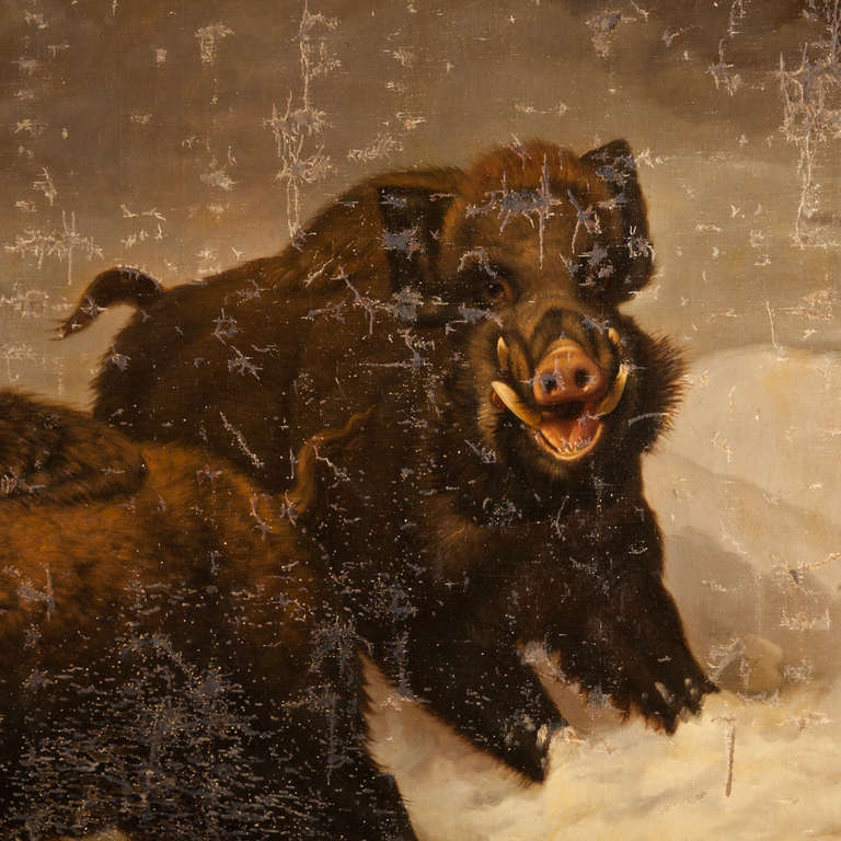 Giant Oil Painting of Wild Boar Hunting at 1stdibs