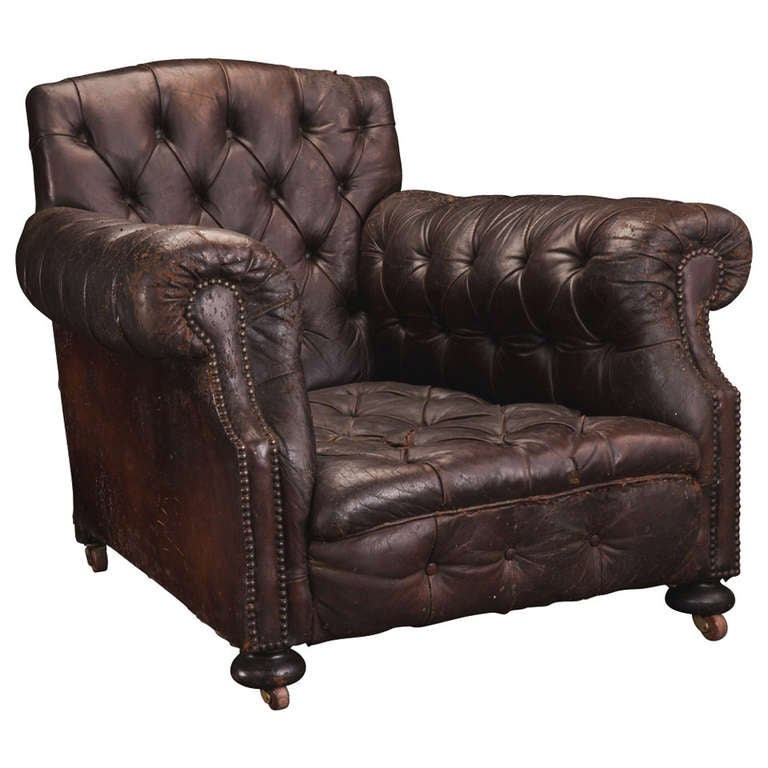 Oversized leather library chair at 1stdibs for Large armchair