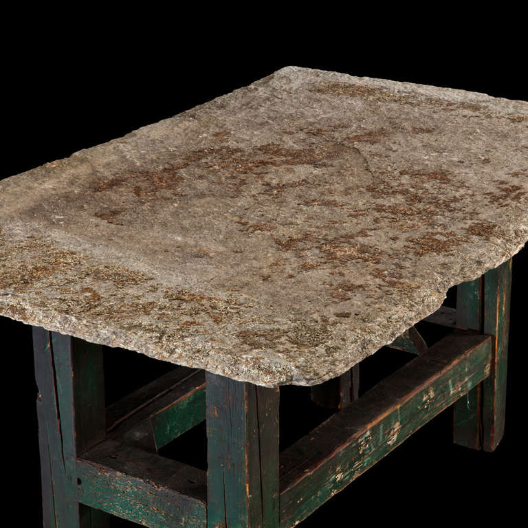 Stone Top Wood Base Table At 1stdibs