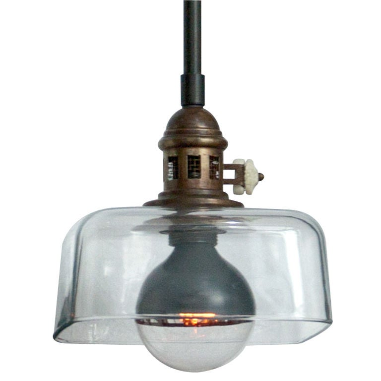 industrial square glass ceiling pendant at 1stdibs