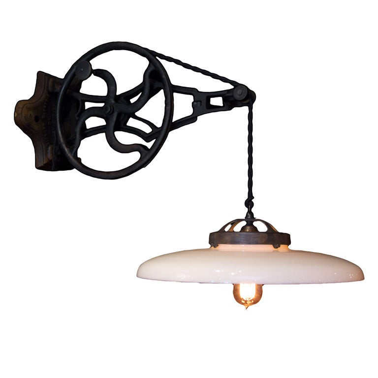 bathroom light pulley pulley light with milk glass shade at 1stdibs 10861 | XXX 8789 1285632872 1