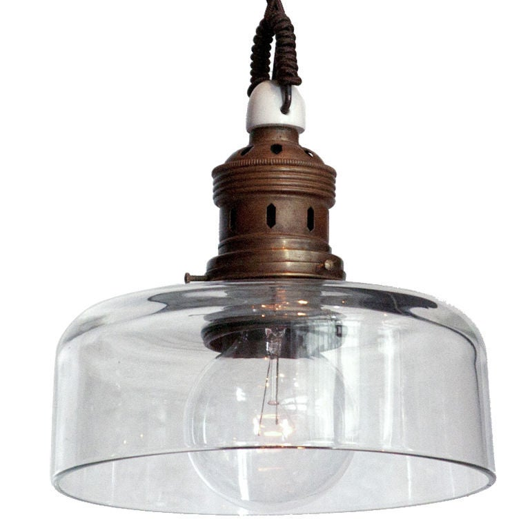 industrial glass pendant with brass filter at 1stdibs