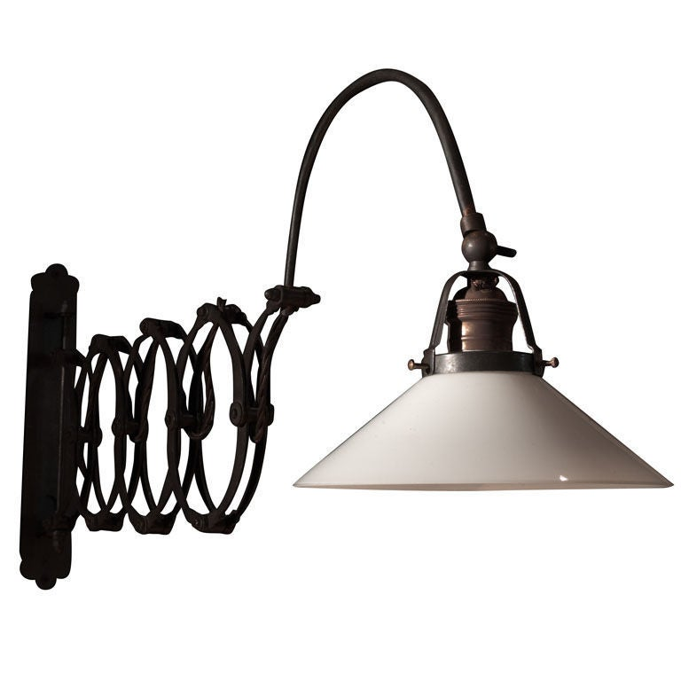 Wall Mount Lamp Set : Industrial Wall Mount Scissor Lamp at 1stdibs