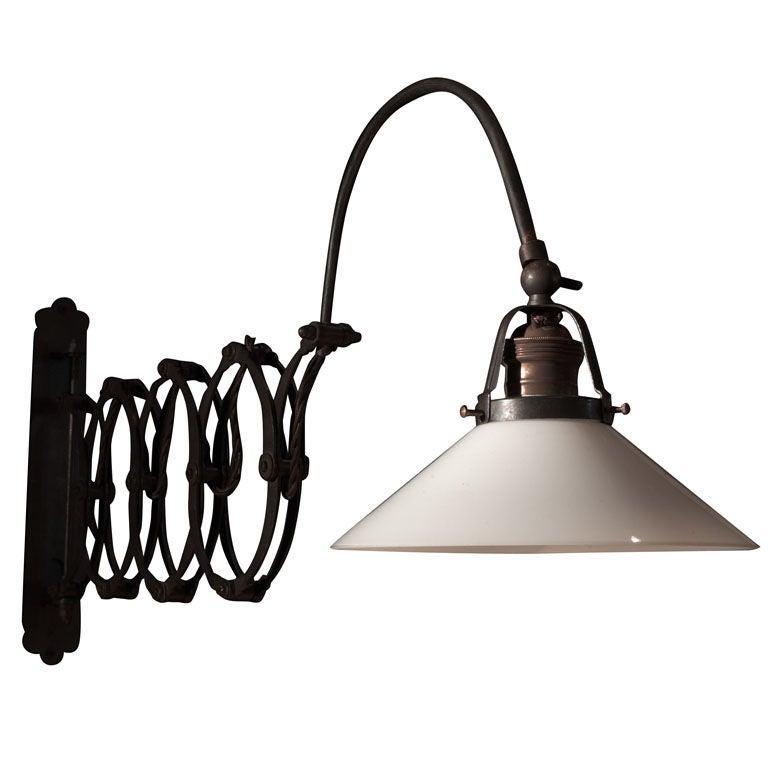 Wall Mount Work Lamp : Industrial Wall Mount Scissor Lamp at 1stdibs