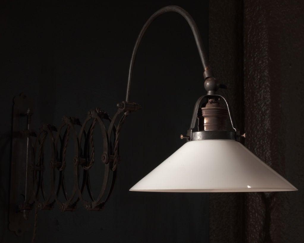 Wall Mounted Scissor Lamp : Industrial Wall Mount Scissor Lamp at 1stdibs
