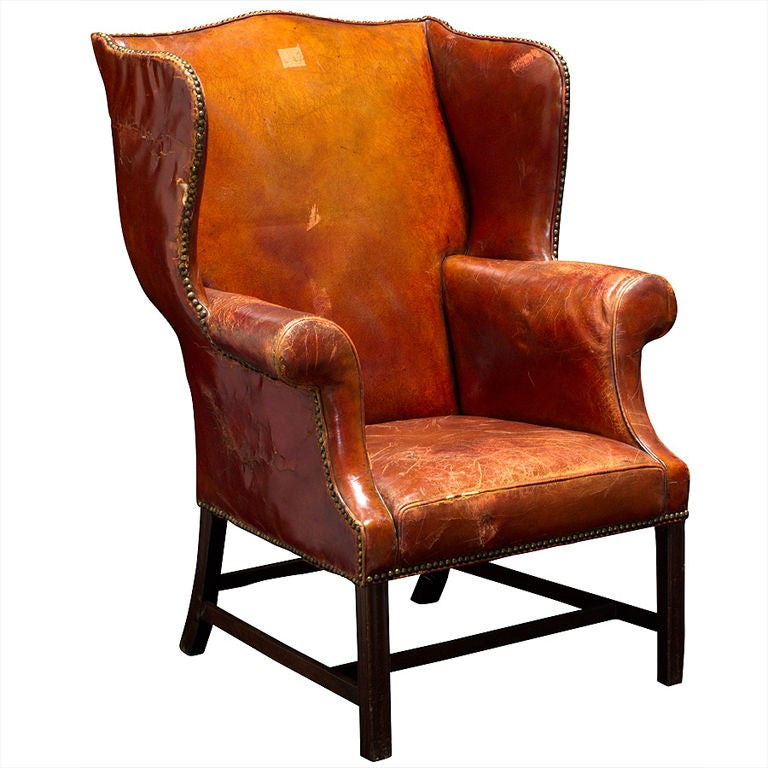 Oversized English Bordeaux Leather Wingback Chair At 1stdibs