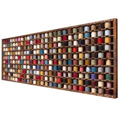 French Wood Rack with Wool Yarn Bobbins