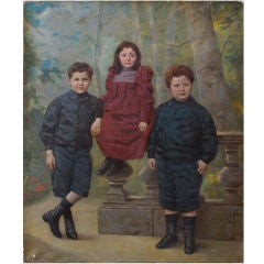 19th Century French Oil Painting of Victorian Children