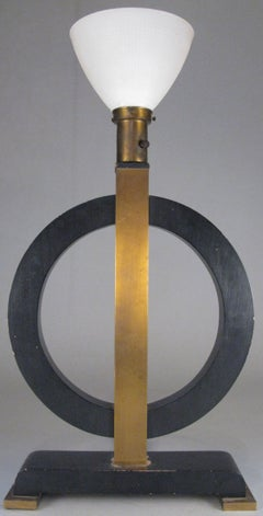 Art Deco Brass & Lacquered Circle Lamp