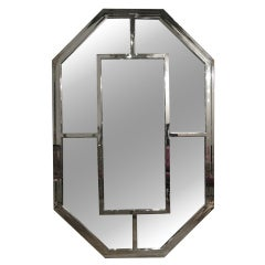 Vintage 1970s Chrome Octagonal Mirror by Pace Collection