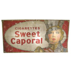 Monumental Antique 'Sweet Caporal' Metal Trade Sign