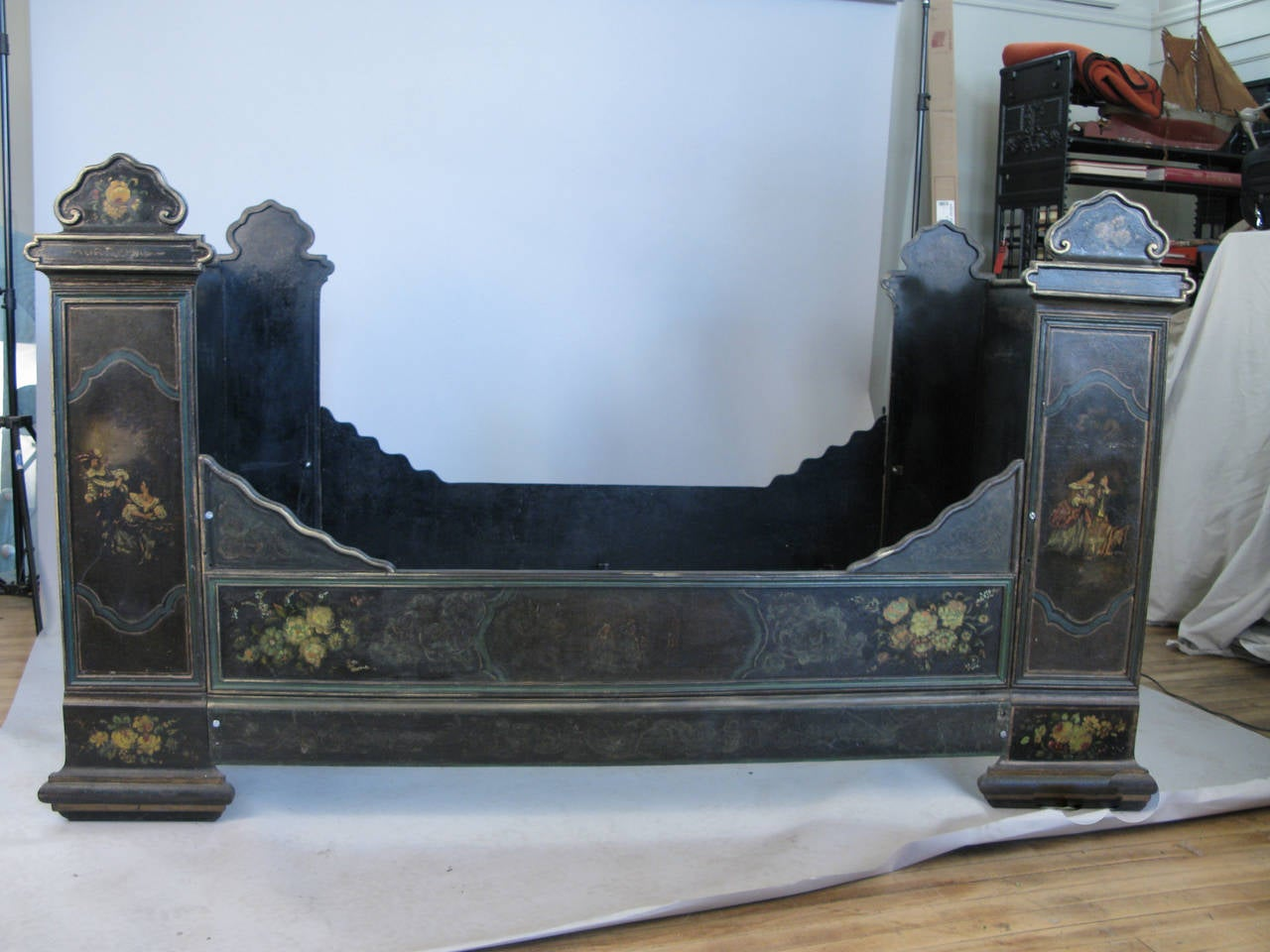 Antique Victorian Hand Painted Cast Iron Bed For Sale At