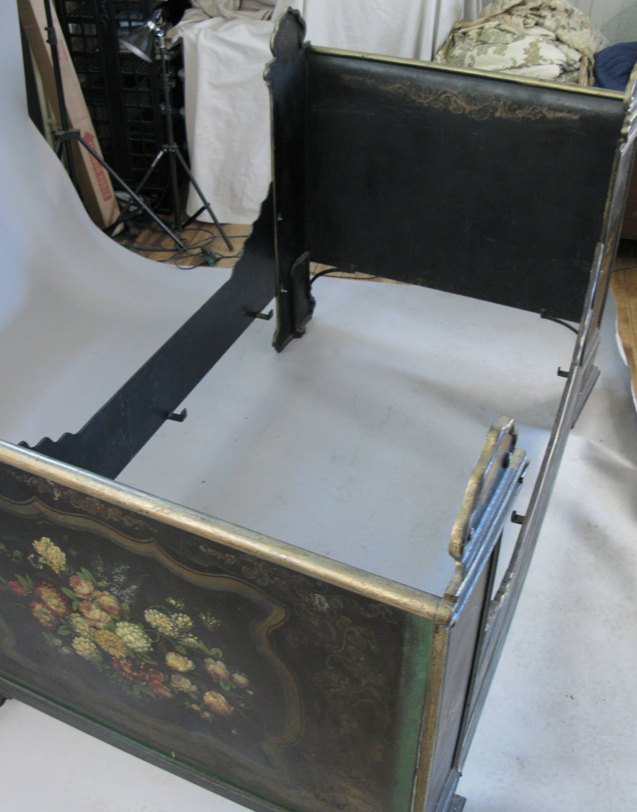 Antique Victorian Metal Bed : Antique victorian hand painted cast iron bed for sale at