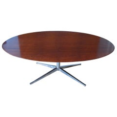 Rosewood & Chrome Oval Table by Florence Knoll