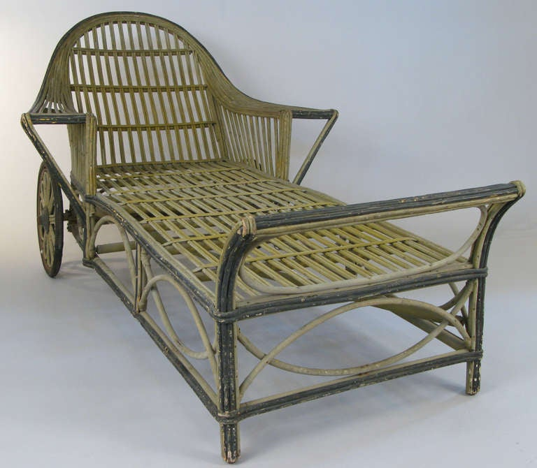 Antique wicker chaise lounge at 1stdibs for Antique wooden chaise lounge