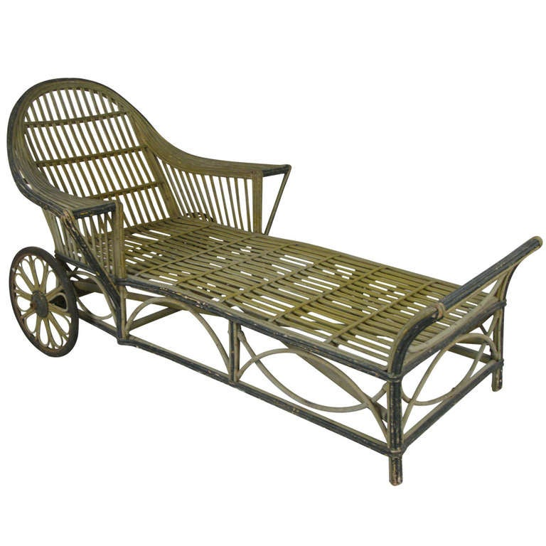 Antique wicker chaise lounge at 1stdibs for Antique chaise lounge for sale