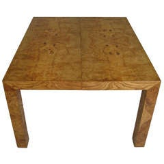 Vintage Modern Burled Parsons Extension Dining Table by Milo Baughman