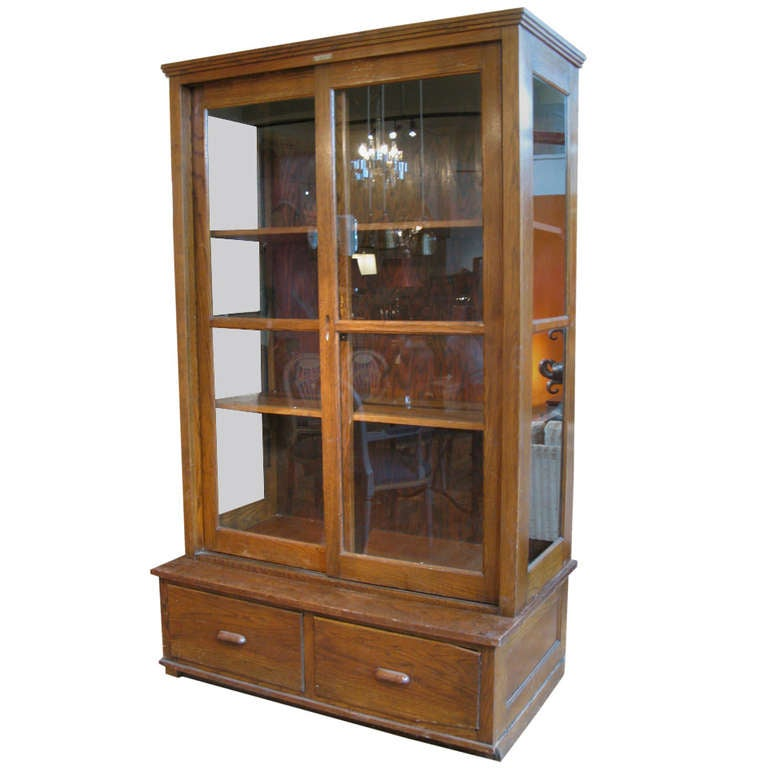 Antique Oak and Glass Display Cabinet at 1stdibs