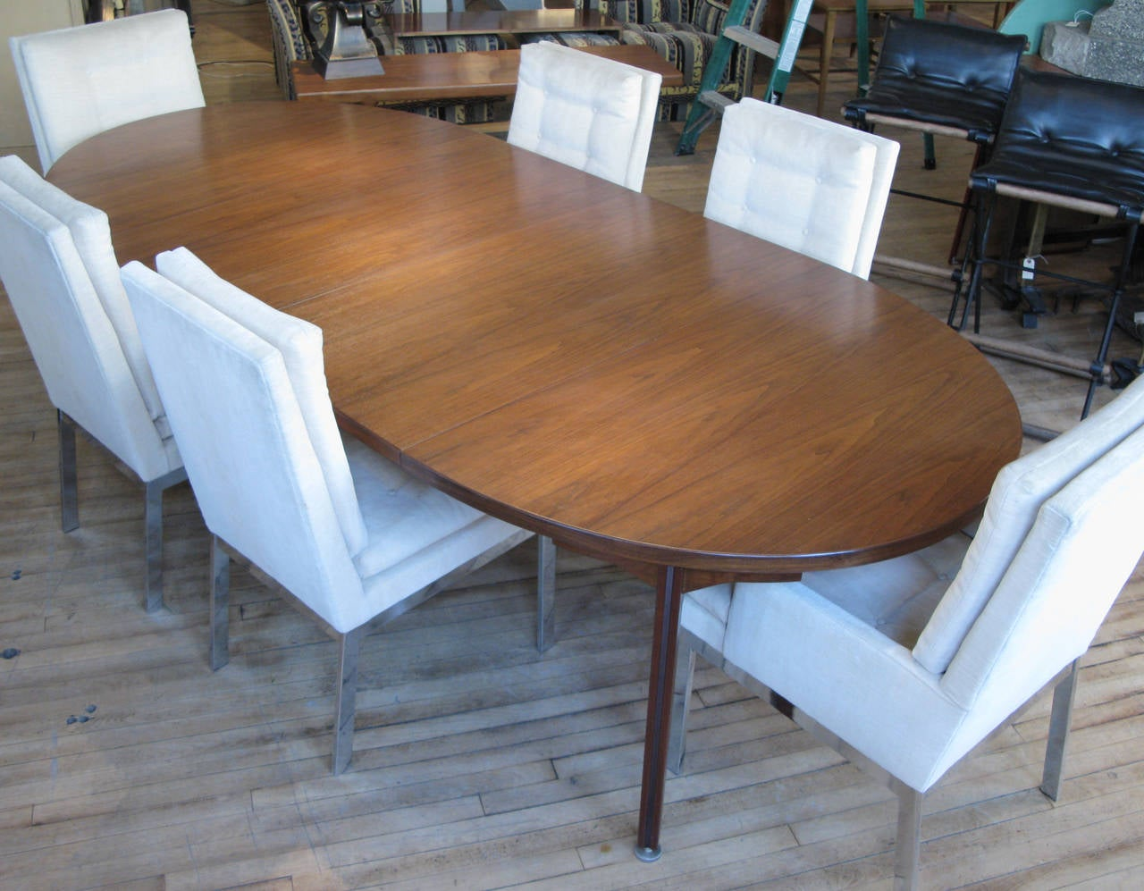 Mid Century Modern Vintage Oval Walnut Extension Dining Table By Jens Risom For
