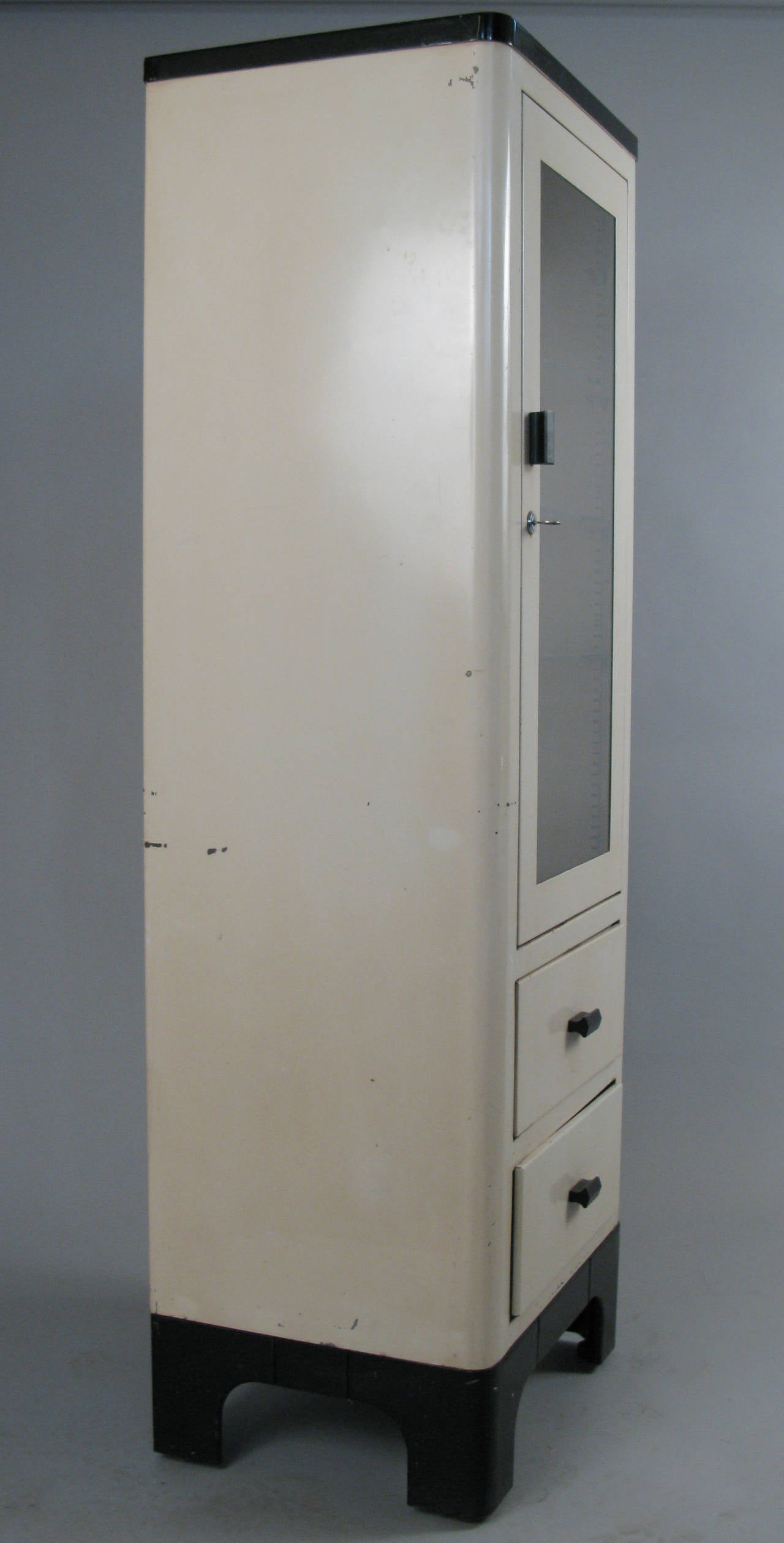 1940s Locking Medical Cabinet With Glass Door At 1stdibs