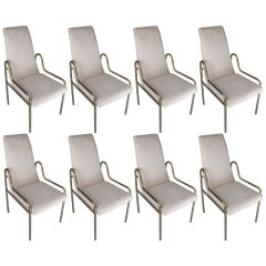 Set of Eight Brass DIning Chairs by Mastercraft