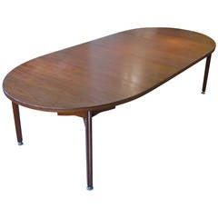 Vintage Oval Walnut Extension Dining Table by Jens Risom
