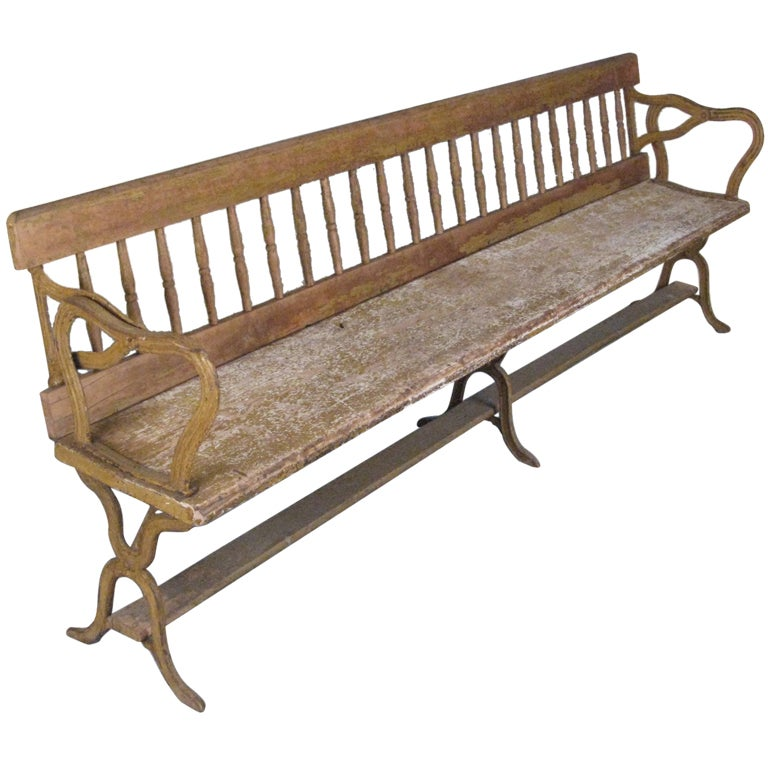 Antique Cast Iron Reversible Railway Bench