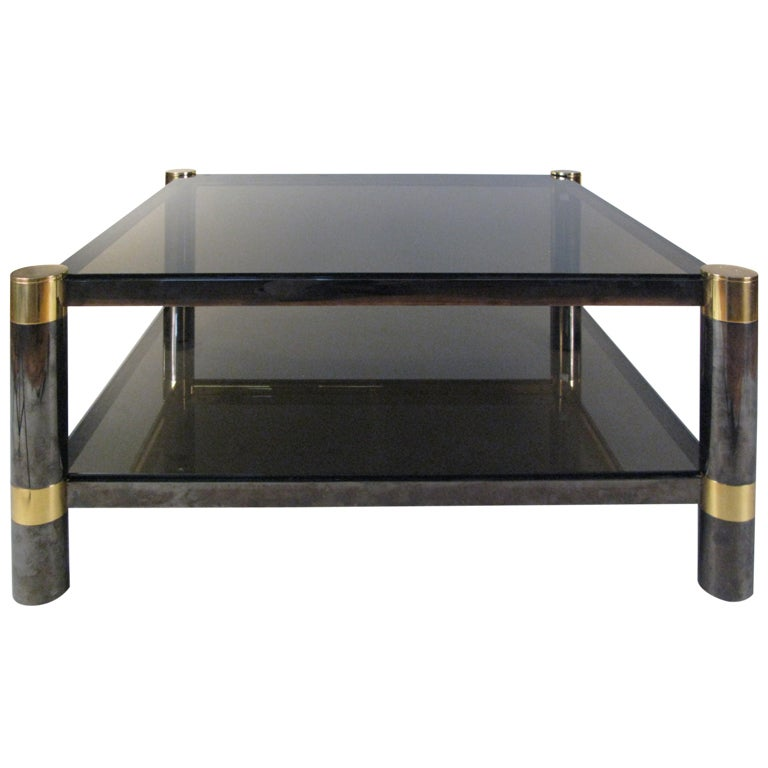Elegant Gunmetal And Glass Square Cocktail Table By Karl