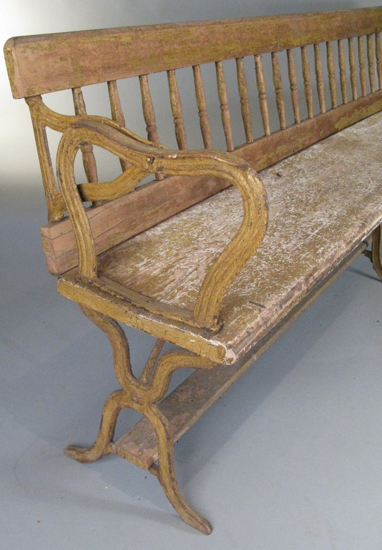 Antique Cast Iron Chairs : Antique cast iron reversible railway bench at stdibs
