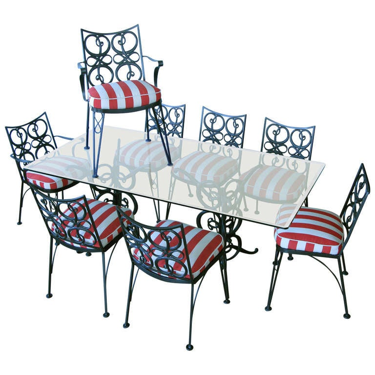 Vintage wrought iron garden dining set with eight chairs - Vintage wrought iron chairs ...