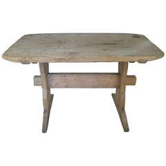 Antique Swedish Pine Trestle Table