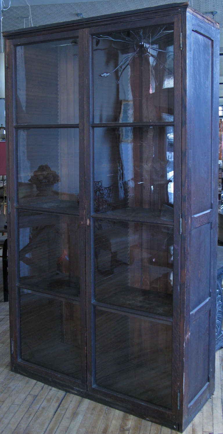 a very handsome antique late 19th century 2 door display cabinet with a  pair of divided - Antique Mercantile Display Cabinet At 1stdibs