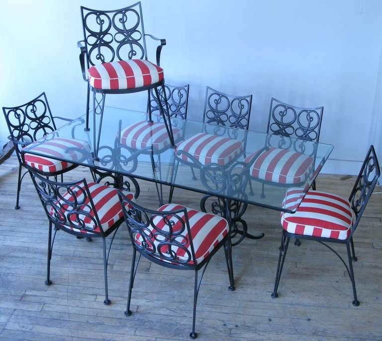 Vintage Wrought Iron Garden Dining Set With Eight Chairs