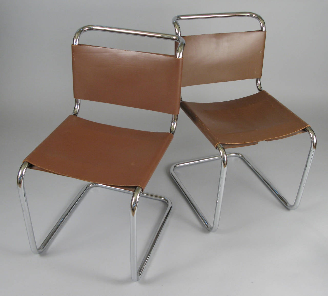 pair of 1950s italian chrome and leather chairs at 1stdibs