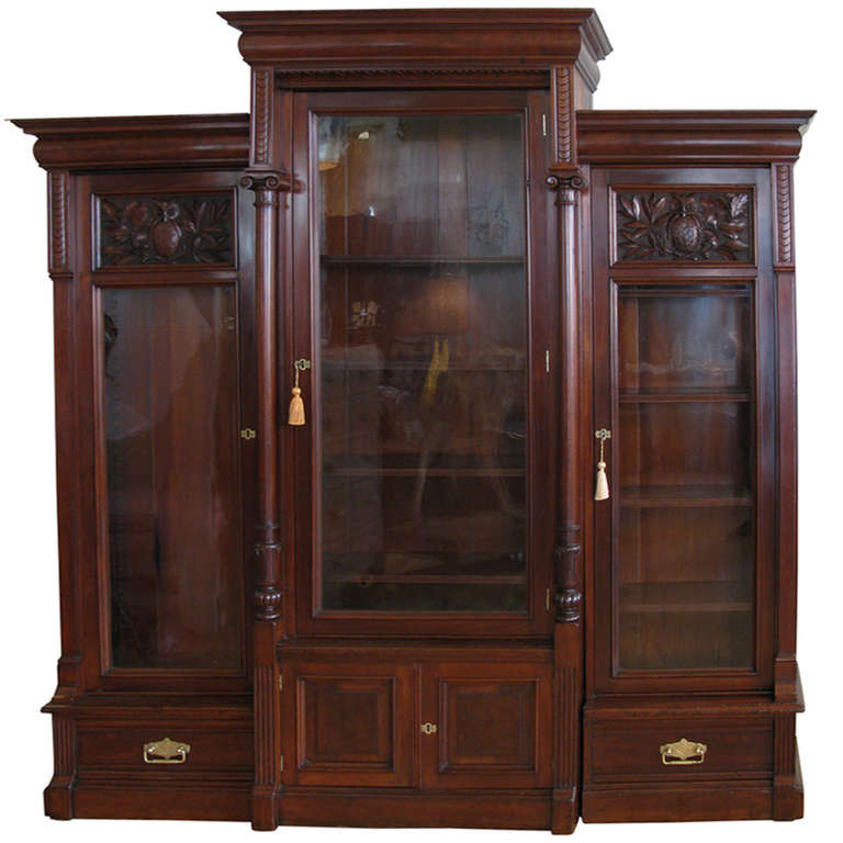 Hand Carved Bookshelf ~ Th century hand carved bookcase cabinet at stdibs