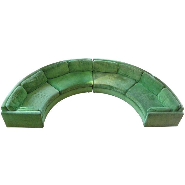 Semi Circular Curved Sectional Sofa By Milo Baughman At