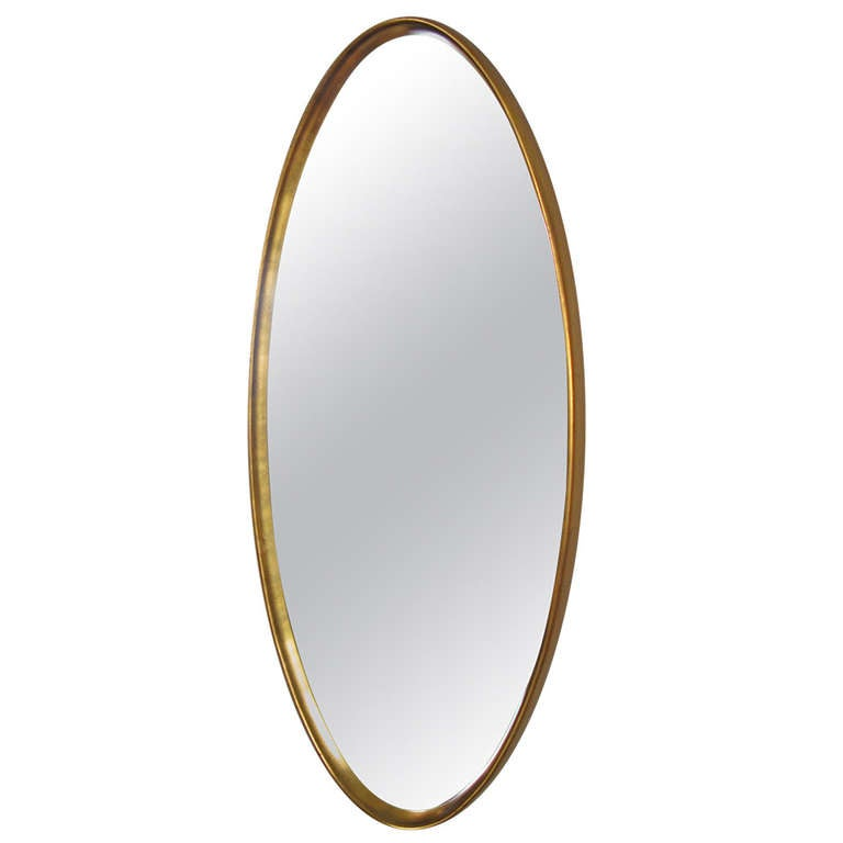 Classic Modern Gold Leaf Oval Mirror By La Barge At 1stdibs