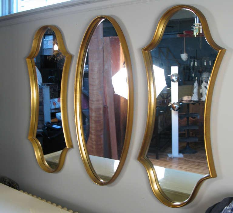 Classic Modern Gold Leaf Oval Mirror by